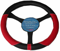 NEW Soft Grip Car Steering Wheel Cover Protector RED Black Universal Glove 1325