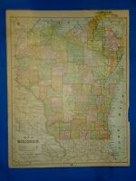 Vintage 1892 MAP ~ WISCONSIN ~ Old Antique Original Atlas Map