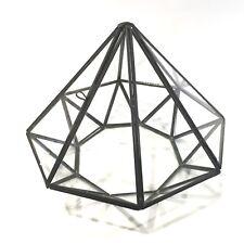 "Glass & Metal Terrarium Pyramid Shaped Octagon With Door 6"" x 7"" Fairy Garden"