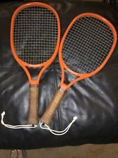 Lot of 2 Vintage 1970's Orange Bandido Leach Racquetball Racket Leather Grip EUC