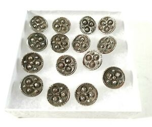 """Lot Of 15 Antique Victorian Marcasite 5/8"""" Buttons Unmarked Metal Shank VFINE"""