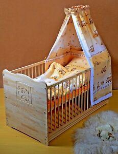 Babybett Gitterbett komplett Set Kinderbett Jugendbett  5Farben 120cm Massivholz