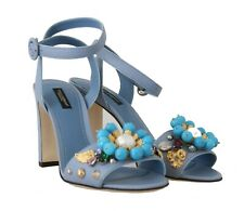 DOLCE & GABBANA Shoes Blue Leather Crystal Pearl Sandals EU35.5 / US5 RRP $1150
