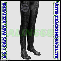 Chain Mail Legging Flat Riveted Solid Ring Blackened ChainMail Chausses Armour