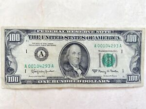 1963 A $100 One Hundred Dollar Bill Note BOSTON Low Serial A00104293A circulated