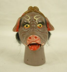 Vintage Chinese Clay Painted Glove Puppet Head - Move-able Mouth (Zhu Bajie?)