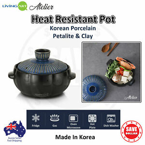 Heat Resistant Pot Porcelain Casserole Ceramic Clay Soup Cooking with lid Korean