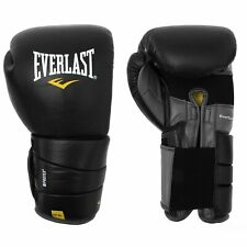 EVERLAST LEATHER PRO 3 BOXING / MUAY THAI GLOVES - BLACK