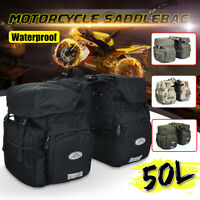 50L Canvas + PU Leather Motorcycle Bicycle Pannier Side Bags Luggage SaddleBags