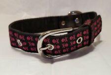 Dog Collar Skull & Crossbones Pink/Black Medium