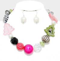 """Pierced pink multi colored beads & white pearl 20"""" necklace & earring set"""