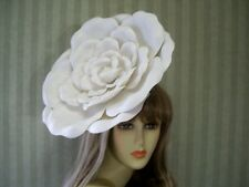 "White Rose Fascinator, 12"" Rose, WEdding, Tea Party, Halloween, Kentucky Derby"