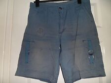 """blue faded look, 100% cotton 3/4 shorts, size M approx waist 34"""" lots of pockets"""