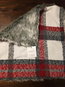 """Pottery Barn Gray Red Graham Plaid Faux Fur Back 18"""" Pillow Cover NEW Christmas"""