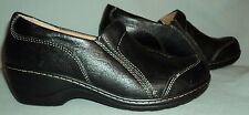 SOFTSPOTS WOMENS BLACK LEATHER MULES SLIP ON SHOES 9M STYLE 76120