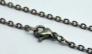 Chain Link Necklace Stainless Steel 316L Any Length Silver Tone Bulk Wholesale