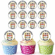 Máquina tragaperras juego 24 Personalizado precortadas comestibles Cumpleaños Cupcake Toppers