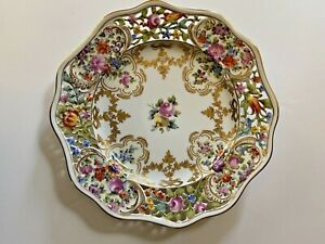 Carl Thieme Dresden Plate~ Rare Possibly Custom Made ~ Raised Gold ~ Reticulated