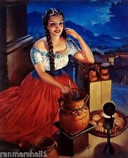 1940 S Mexico Latina Senorita Woman Bird Advertisement Vintage Pin up Art Poster