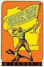 Green Bay Packers   NFL Football   Vintage Looking  1960's Travel Decal  Sticker