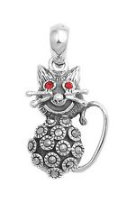 Silver Pendant with Marcasite Cat Pendant Height 24 mm Stone Ruby CZ new
