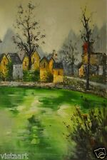 """Oil Painting on Stretched Canvas- """"Small Victorian Town""""- 24x36"""""""