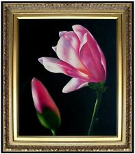Framed Quality Hand Painted Oil Painting Red Magnolia and Bud 20x24in