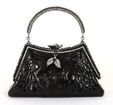 BESSO Black Crocodile Skin Crystal Adorned Antique Silver Evening Bag