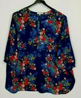 Woman Within Size 2X (26-28) Colorful Floral 3/4 Sleeve Tunic Top
