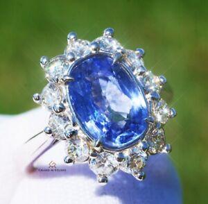 Sapphire Ring Gold Diamond Natural Sri Lanka 4.61CT AIGS Certified RETAIL $13100