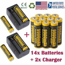 10Pcs Powerful 18650 Battery 3.7v Li-ion Rechargeable Battery & Smart Charger US