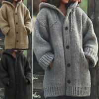 Fall/ Winter Ladies Knit Cardigan Hooded Sweater Outwear Long Jacket Warm Coat