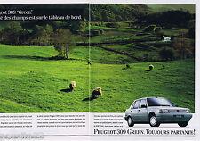 PUBLICITE ADVERTISING 105  1990  PEUGEOT  la 309 GREEN  ( 2p)