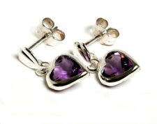 Sterling Silver Amethyst Heart drop Earrings Made in UK Gift Boxed
