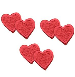 """Mini Hearts Applique Patch - Red Heart, Love Badge 1"""" (3-Pack, Iron on)"""