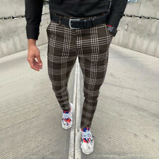 Mens Plaid Striped Slim Fit Pencil Pants Formal Casual Business Skinny Trousers
