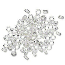 100 pcs, 3x2mm SP, Silver Plated Brass, Round, Spacer Corrugated Rondelle Beads