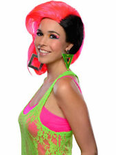 Adults Womens 80s Neon Pink Black Sweep Punk Rave Halloween Costume Wig Cosplay