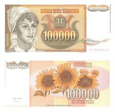JUGOSLAVIA 100000 Dinara 1993 RICAMBIO ZA prefisso P-118r BANCONOTE UNC
