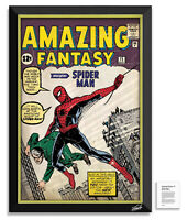 Amazing Fantasy 15 Spider-Man Stan Lee Facsimile Signed - Framed Museum Canvas™