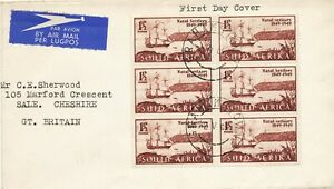 SOUTH AFRICA 1949 100th anniv of arrival British Settlers in Natal VARIETY FDC!!