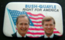 "BUSH-QUAYLE Right for America President Political Campaign PIN 1 3/4"" x 2 3/4"""