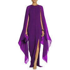 Womens Long Maxi O Neck Evening Prom Party Cape Split Dresses Ball Gown Cocktail