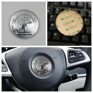 Silver 57mm 3D Steering Wheel Logo Cover Fit for Mercedes Benz AMG