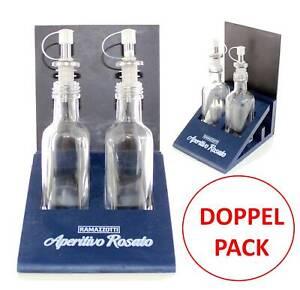 2x RAMAZZOTTI Essig & Öl Spender Set mit Holzsockel Ramazotti Aperitivo Rosato