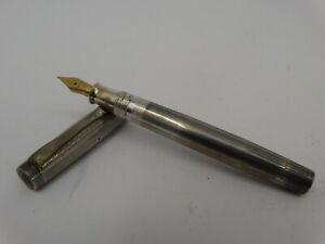 Vintage Fountain Pen UNIC Sterling Silver 18K Gold Iridium Nib
