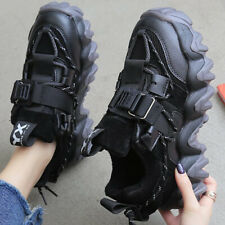WOMENS LADIES SNEAKERS CHUNKY SOLE TRAINERS BUCKLE SPORTS CASUAL RUNNING SHOES