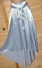 SKIRT - Long length heavier weighted silver coloured satin skirt, BN, Large