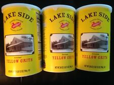 3 Cannisters Of Lake Side Grits. 1lb 12oz. Ea. Cannisters Yellow Grits