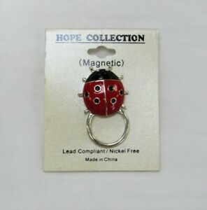 Silver Plated Red Ladybug Eyeglass Holder Magnetic Pin